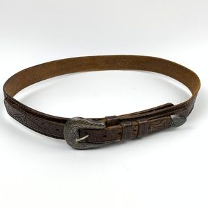 Vintage Western BOHO Silver Buckle Leather Belt